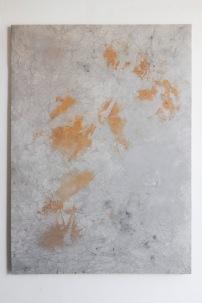 Ruben Brulat, Pied gauche qui traverse et tombe dans l'eau qui boue, 2016, 200X145cm, mixed media on cotton