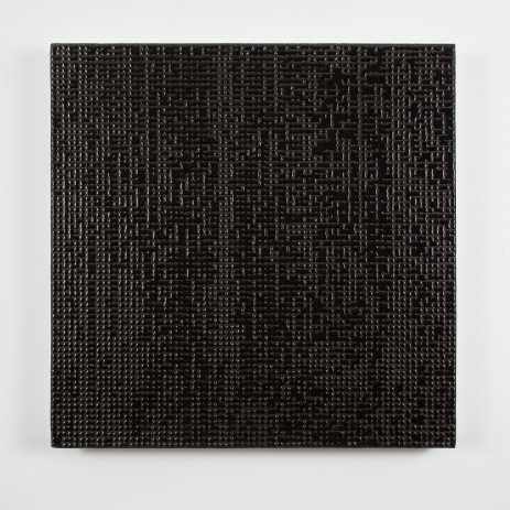 Gregory Hayes, Mergence (Black) 18X18in, acrylic on canvas, 2015