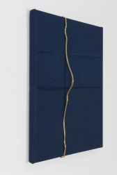 Zehra Arslan, When Jerry put a smile on my face, Engraved dyed cotton duck, brass, 76X61cm, 2015