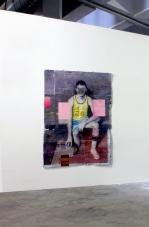Cristiano Tassinari, American player, 2015, Oil and collage on aluminum, 205x140cm. Altes Postfuhramt West, Berlin