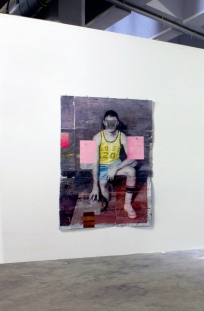 Cristiano Tassinari, American player, 2015, Oil and collage on aluminum, 205x140cm. Altes Postfuhramt West, Berlin