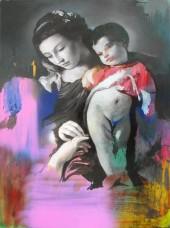 Cristiano Tassinari, Virgin and child, oil on aluminium, 2018