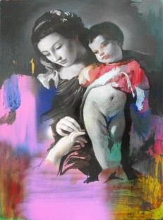 Cristiano Tassinari, Virgin and child, oil on aluminium, 2018
