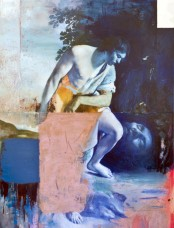 Cristiano Tassinari, David and Goliath, 2021, Mixed media on canvas, 190x130cm